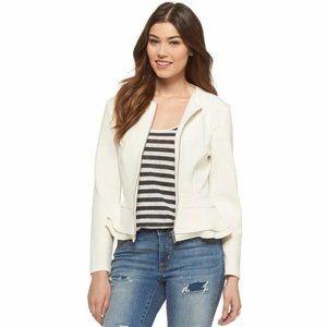 Mossimo Ivory Peplum Zip Up Blazer Jacket